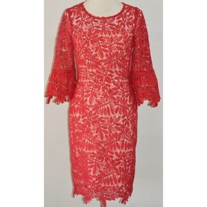 REVIEW RED LACE FLARED BELL SLEEVE COCKTAIL DRESS